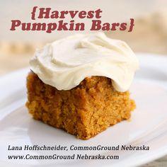 Harvest Pumpkin Bars http://commongroundnebraska.com/harvest-pumpkin-bars-recipe/
