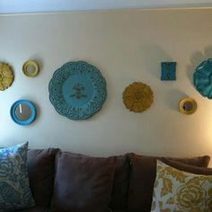 Yellow and blue wall decor