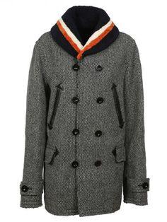 SACAI Grey Fur Collar Coat. #sacai #cloth #coats-jackets