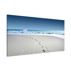 Magnettafel - Spuren im #Sand - Memoboard Quer 37cm x 78cm #Magnettafel #Memoboard #Pinnwand #Strand #Küste #Meer #bluesky