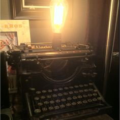 Underwood Typewriter I turned into a table lamp. Wanna buy it? Underwood Typewriter, A Table, Table Lamp, Lisa Design, Light Up, Typewriters, Lighting, Table Lamps, Lamp Table