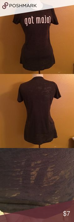 Got mojo tee size XL This is a very light weight material and somewhat sheer please see 3rd picture where you can see my hand thru material for example next level  Tops Tees - Short Sleeve