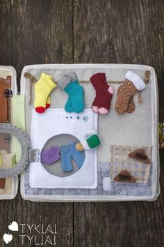 Quiet Book Page Ideas. Laundry. Washing Machine. Socks.