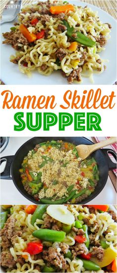 Ramen Skillet Supper recipe from The Country Cook. Less than 30 minutes to make and only 5 ingredients! #easy #recipes #maindish