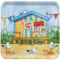 /24/cm /Long /Emma Ball Colourful Cream cracker//Biscuit Tin/ /beside The Sea/ Beach Huts/ Deep rectangular Kitchen Tin/