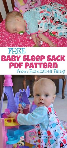 Baby Sleep Sack PDF Pattern from Bombshell Bling Laurie can you make some when you get home?FREE Baby Sleep Sack PDF Pattern from Bombshell Bling Laurie can you make some when you get home? Baby Sewing Projects, Sewing For Kids, Sewing Tutorials, Diy For Kids, Sewing Crafts, Sewing Ideas, Couture Bb, Wearable Blanket, Sleep Sacks