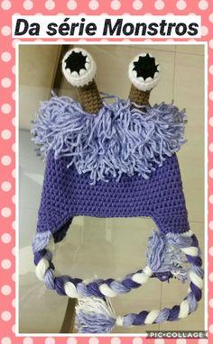 Da série MONSTROS, touca  em crochet.