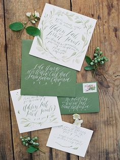Perfect for an outdoor wedding, these watercolor invitations showcase the beauty of nature in one earthy shade of green.