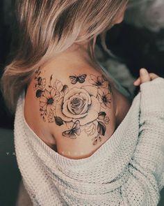 Flower Tattoos Sketch Polynesian Tattoos Back Butterfly Tattoo On Shoulder, Shoulder Tattoos For Women, Front Shoulder Tattoos, Flower Shoulder Tattoos, Quotes For Tattoos, Half Sleeve Tattoos For Women, Shoulder Tattoo Quotes, Mandala Tattoo Shoulder, Rose And Butterfly Tattoo