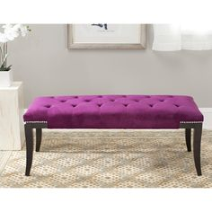 Florence Purple Tufted Nailhead Bench | Overstock.com