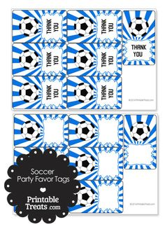 Blue Sunburst Soccer Party Favor Tags from PrintableTreats.com