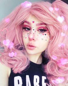 Instagram @hisuxen.png   pink pastel hair, pastel goth makeup, kawaii