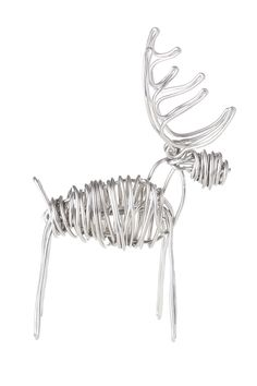 Handcrafted drawn wire sculpture of deer. Simple and joyful little Reindeer. Each reindeer sculpture is hand made from 8ga aluminum wire. Please allow for slight variations in size and shape.   Deer Sculpture by Drawn Metal Studios. Home & Gifts - Home Decor - Decorative Objects Texas