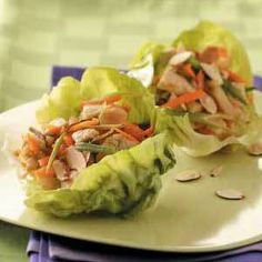 Shredded Chicken and Veggies in  Lettuce Cups  174 Calories  http://thinspirationaljourney.wordpress.com/2012/07/09/shredded-chicken-and-veggies-in-lettuce-cups/