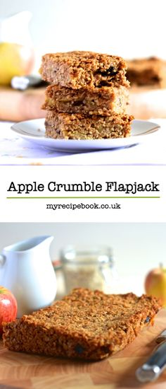 Apple crumble flapjacks – Golden flapjacks with a layer of juicy apple and raisins. Perfect on their own as a snack or smothered in hot homemade custard for a warming dessert.