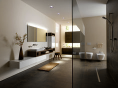 Perfect layering of floating bathroom vanity drawers and vessel sink for Wetroom with window next to sink!