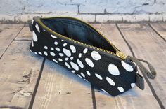 READY TO SHIP - pencil case - cosmetic case, bag - purse - wallet - zipper pouch - for women - black and white - cow spotted by BagitBag on Etsy