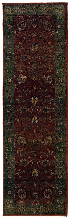 Oriental Weavers Traditional Runner Area Rug 2'3'x7'6' Red-Green Kharma Collection * Trust me, this is great! Click the image. (This is an amazon affiliate link. I may earn commission from it)