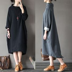 Gracila Casual Loose Solid Color Long Sleeve Stand Collar Women Dresses is comfortable, see other simple casual dress on NewChic Mobile Funky Dresses, Day Dresses, Nice Dresses, Chic Outfits, Fashion Outfits, Womens Fashion, Beautiful Casual Dresses, Hijab Stile, Mode Hijab
