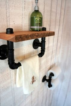 Twin TP Holder And Reclaimed Oak Hand Towel Bar