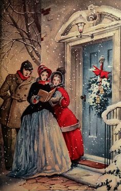 Old Christmas Post Card — Caroling at The Front Door (442x700)