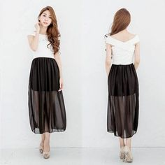 Stylish Ladies Women Off Shoulder Long Sleeve Elastic Waist Patchwork Casual Dress