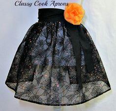 HALLOWEEN Half Apron BLACK Organza with SPIDERWEBS & Sequins by ClassyCookAprons, $29.50