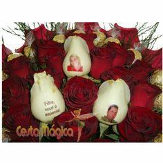 Rosas naturais personalizadas com fotos ou frases à sua escolha. Cesta Mágica