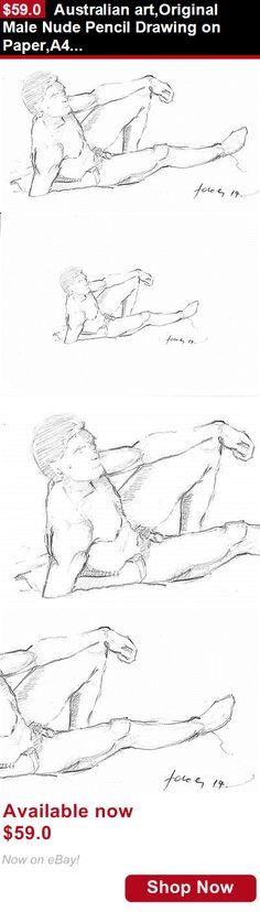 Drawings art: Australian Art,Original Male Nude Pencil Drawing On Paper,A4, Reclining Figure BUY IT NOW ONLY: $59.0