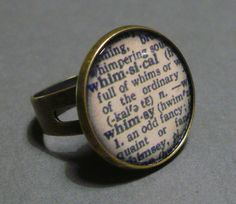 Vintage Retro Dictionary Style Ring - Whimsical