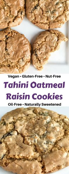 Tahini oatmeal raisin cookies that are vegan, free of major allergens, naturally sweetened, oil-free, nutrient-dense and have the perfect cookie texture!