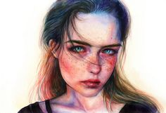 Nature Sunrise by agnes-cecile on DeviantArt Wish You The Same, Agnes Cecile, Portrait Sketches, Watercolor Portraits, You Are Awesome, Girl Face, Face Art, Art Images, Fashion Art