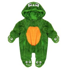Halloween Fancy Dress For Babies Cute Little Monster Fur Snowsuit Green 0-9 Months www.babywearwholesale.com