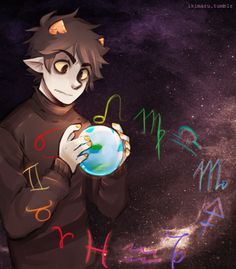 Karkat Vantas - Homestuck this is sooo cool! except his fingers look really pudgy. why does this bother me? hey maybe his hands are just swollen from giving high-fives to people. on their faces.