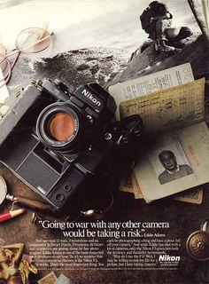1980's Nikon Advertisement Product photography that tells a story, and this image makes room in the lower third for copy - which is what we need!