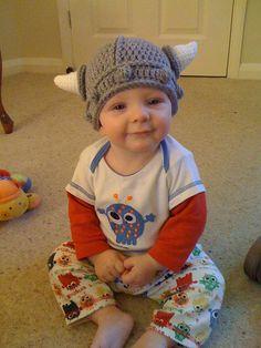 My favourite picture of the boychild. Hat crocheted by grandma, pattern by Mamachee@etsy  #Crochet #Mamachee #Viking