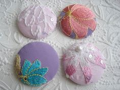 Pink buttons buttons fabric buttons covered ♡ by EmbellishedLife2, $4.50