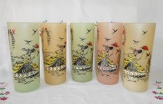 """5 Hazel Atlas Style Pastel Southern Belle Frosted Collins Glasses 6 1/2"""" tall."""