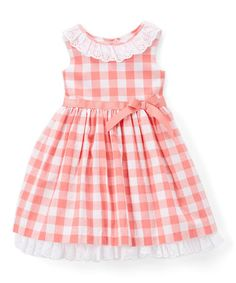 Look what I found on #zulily! Coral & White Gingham Sleeveless Dress - Infant & Girls #zulilyfinds