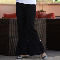 Ladies Black Ruffle Pant