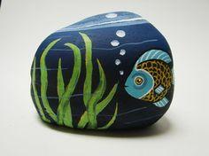 Fish Bowl hand painted rock, rock art