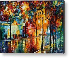 Famous Artists Acrylic Prints - The Tears Of The Fall - Palette Knife Oil Painting On Canvas By Leonid Afremov Acrylic Print by Leonid Afremov
