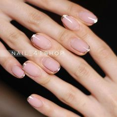 Make an original manicure for Valentine's Day - My Nails Ten Nails, Shellac Nails, Nail Manicure, Acrylic Nails, Gold Tip Nails, Shellac French Manicure, Love Nails, How To Do Nails, Pretty Nails