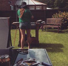 #summer #bestfriend #bbq #photography #happy #garden #grass #sun #flower #hat #shorts #tan #love #happy #lychee #bench #cooking