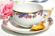 Antique 1920's Tea Cup and Saucer. Antique Limoges by EcoIdeology