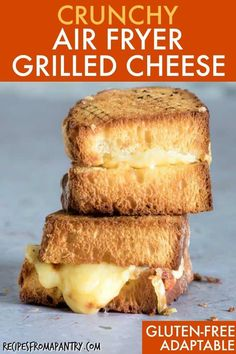 An Air Fryer Grilled Cheese sandwich makes a perfect weekend lunch or quick, mid-week meal that your entire family will love! #airfryer #airfryersandwich #airfryergrilledcheese #airfryerrecipes #lunch #grilledcheese #wwrecipes #comfortfood Classic Grilled Cheese Recipe, Air Fryer Recipes Grilled Cheese, Air Fryer Recipes Vegan, Air Frier Recipes, Air Fryer Dinner Recipes, Air Fryer Healthy, Ww Recipes, Gourmet Recipes, Ninja Recipes