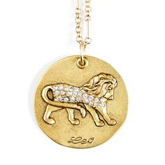 Sequin   Leo Zodiac Necklace LEO  July 23 - Aug 22  Sophisticated, jovial, and creative, with an unerring flair for color and design. This Star Maps Necklace features the Leo Zodiac charm, embossed and studded with crystals.