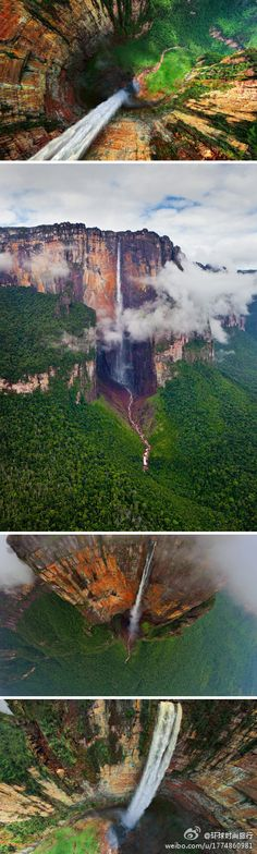 Angel Falls - Venezuela     It is the world's highest uninterrupted waterfall, with a height of 979 m (3,212 ft) and a plunge of 807 m (2,648 ft).