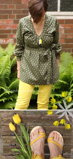 Yellow pants and sandals!