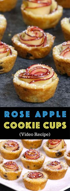 apple cake Easy Rose Apple Cookie Cups - delicious desserts that also look beautiful.,german apple cake Easy Rose Apple Cookie Cups - delicious desserts that also look beautiful. Easy Pastry Recipes, Vegetarian Recipes Easy, Baking Recipes, Cookie Recipes, Bite Size Desserts, Köstliche Desserts, Dessert Recipes, German Desserts, Rose Cookies